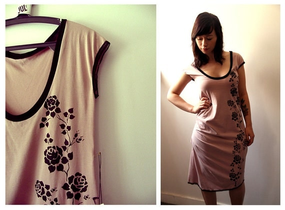 Pink T shirt Dress with black roses print