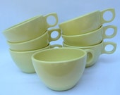 Vintage Prolon Coffee Cups Set of 7 Butter Yellow Restaurant Quality Melamie