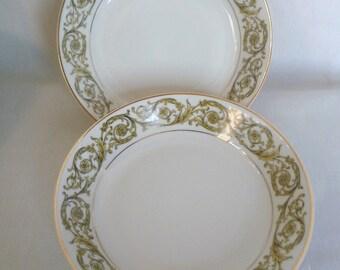 Vintage Limoges France Porcelain Soup Plates Gold Floral Scroll for Gimbels Fine China Two Plates