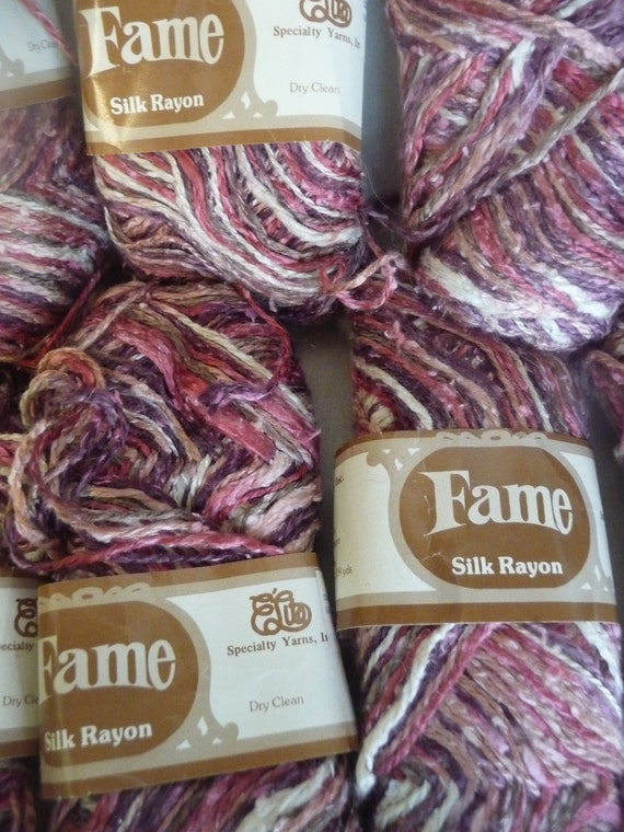 Silk and Rayon Yarn Destash Lot of 6 Fame Soft Rose Ivory Gray Taupe