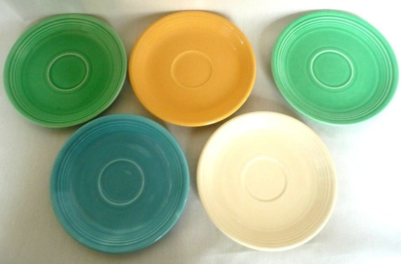 Fiesta Vintage Saucers Fiestaware Five Original Colors