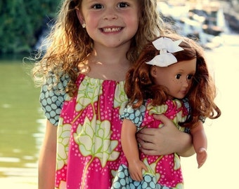 Peasant Dress PDF Sewing Pattern with Doll Dress, SIZES 1-10 NOW with video tutorial included