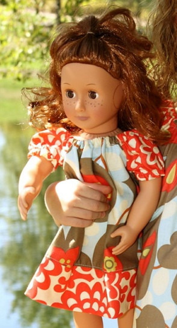 """American Girl Doll Dress in morning glory laceworks fabric, fits 15-18"""" doll,"""
