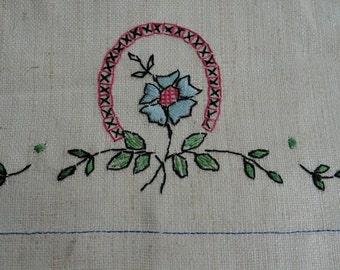 Vintage Pink Blue Floral Embroidered Linen Guest Towel