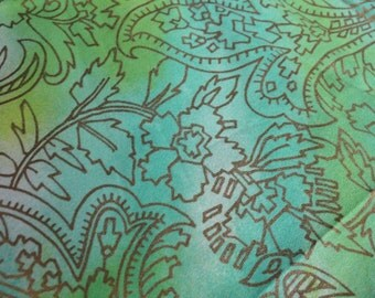1 YARD Vintage Green Metallic Gold Paisley Floral Print Fabric