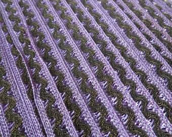 Antique Victorian Purple Ribbon Metallic Gold Trim By the Yard