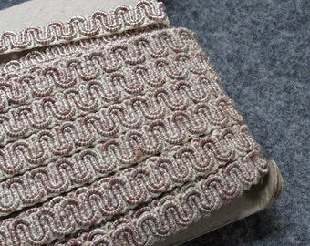 Vintage Upholstery Cord Trim - Scroll Gimp - Ecru Brown Stripe - By the Yard