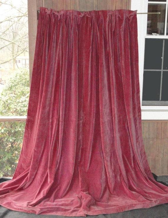 Antique Victorian Magenta Velvet Drapes Curtains 1800 S