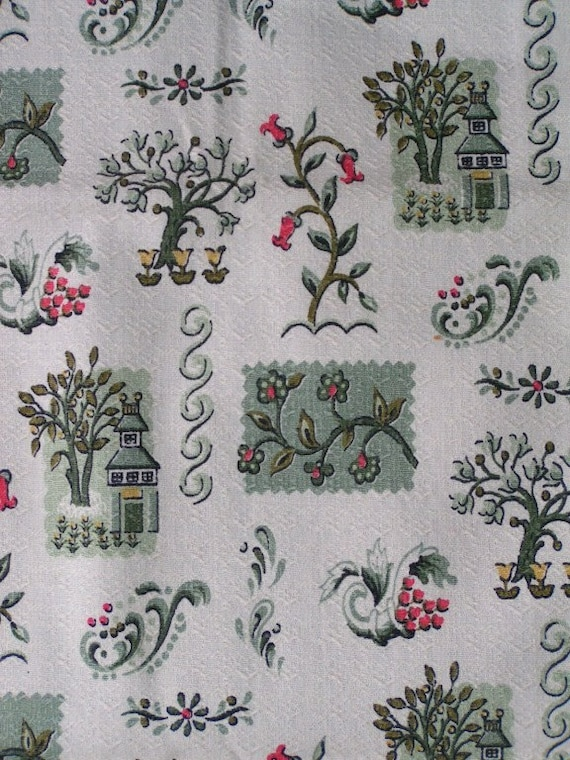 Vintage Barkcloth Cotton Fabric Yard