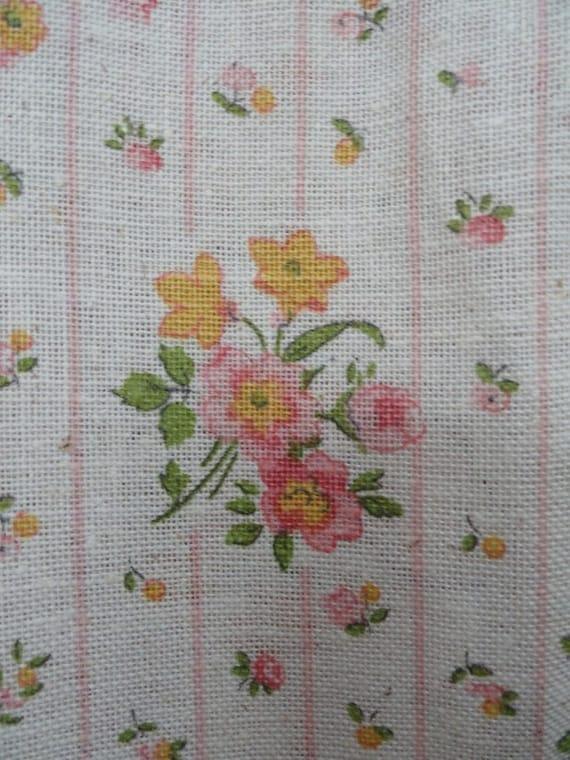 Vintage Fabric Yellow Pink Floral & Stripe Peter Pan Fabrics