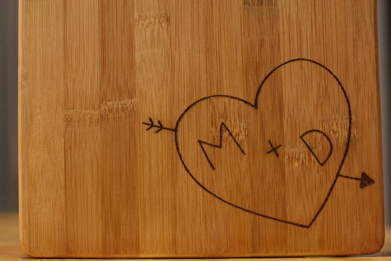 Bamboo Wood Cutting Cheese Board Heart Tree Carving Wood Burning Love Initials Personalized