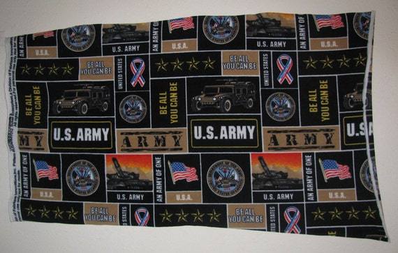 US Army Star Ribbons and Flags Fleece Fabric Piece