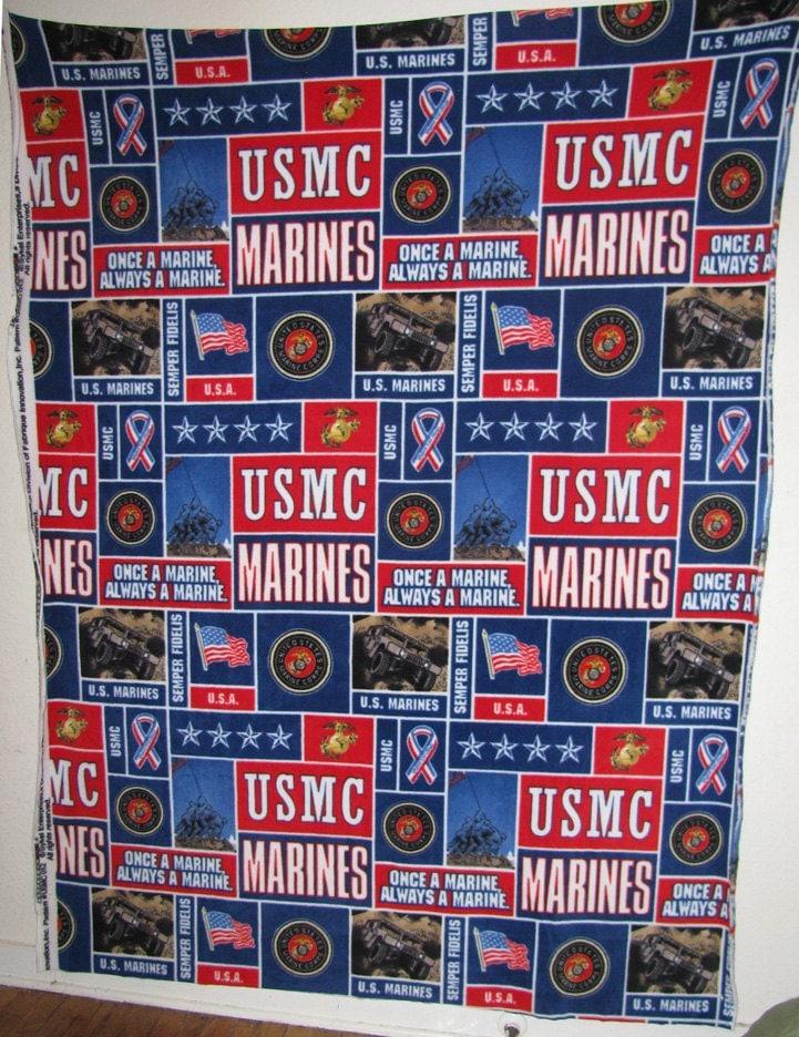 Us Marine Military Icons Fleece Fabric