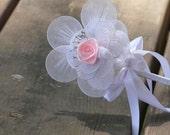White  Pink Bouquet/Boutonniere, Wedding, Bride, Bridal, Wedding Accessories, Decorations, Flower Girl, Bridesmaid