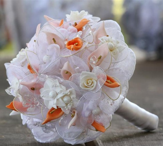 Wedding Bouquet, White Orange Pink- Vintage inspired wedding Bridal Bouquet with  Satin, flowers,  beads,  , ribbon ,