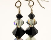 Swarovski Black Diamond AB and Jet Black Crystal Earrings