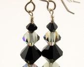 Swarovski Black Diamond AB and Jet Black Crystal Earrings