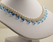 Swarovski White Pearl and Aqua Necklace