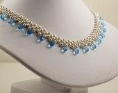 Swarovski White Pearl and Aqua Necklace