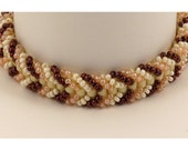Bracelet Woven in Cream, Peach &  Copper Seed Beads - 7 inches