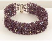 Swarovski Amethyst Bead Woven Bracelet - 7.75 inches