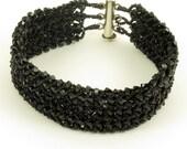 Swarovski Jet Black Crystal Woven Bracelet - 7.25 inches