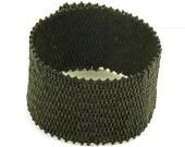 Black/Black  Woven Cuff Bracelet - 7 inches