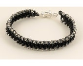 Black and Crystal Silver Shade Bracelet - 7.25 inches