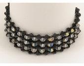 Jet Black & Crystal AB Woven  Bracelet Set - 6.75 inches
