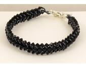 Bracelet Woven in Jet Black Swarovski Crystals - 7.5 inches