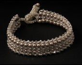 Platinum Pearl & Crystal Silver Shade Bracelet - 8 inches