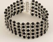 Mystic Black Pearl & Crystal Silver Shade Woven  Bracelet - 7.75 inches