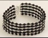 Mystic Black Pearl & Crystal Silver Shade Cuff Bracelet - 8.25 inches