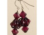 Swarovski Ruby Crystal Woven Earrings