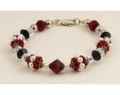 Red, Black, Silver Beaded Bead Bracelet Set