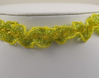 Choker Necklace Woven in Yellow - 14 inches