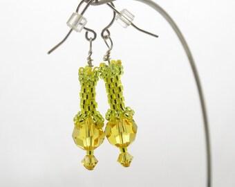 Swarovski Yellow Lacy Woven Earrings