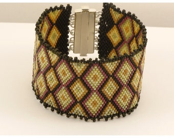 Green Woven Cuff Bracelet - Olive - 7.5 inches