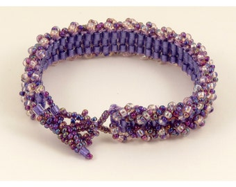 Purple Pink Woven Ladder Bracelet - 6.5 inches