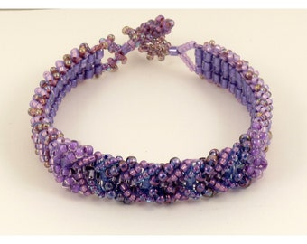 Purple, Lilac & Rainbow Bead Woven Bracelet - 7.25 inches