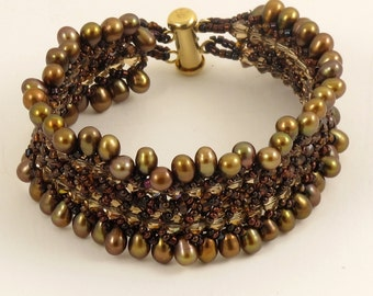 Browns Crystal and Bronze Pearl bracelet