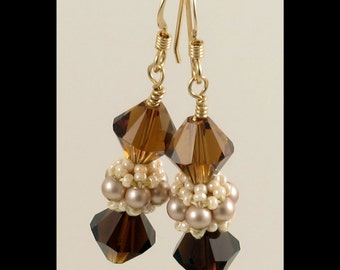 Earrings with Beaded Bead in Mocca Almond Topaz