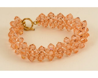 Light Peach Crystal Woven Bracelet - 7.25 inches