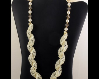 Eggshell & Cream Pearl Dutch Spiral Necklace - 24 inches