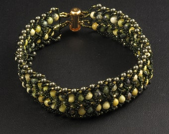 Woven Bracelet of Olivine Crystals & Yellow Turquoise - 8 inches