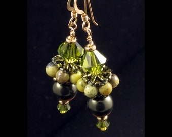Earrings with Beaded Bead in Olivine & Yellow Turquoise