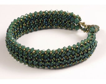 Palace Green Opal with Gold Woven Bracelet - 7 inches