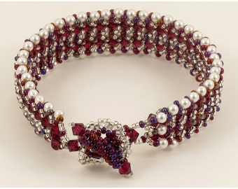 Bracelet Woven of Ruby Crystals & Pearls - 7 inches