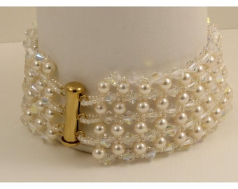 Cream Pearl & Crystal AB Woven  Bracelet - 8.375 inches