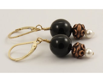 Black and Copper with White Pearl Earrings